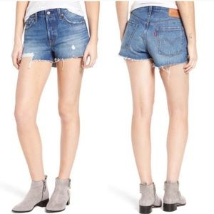 Levi's 501 Distressed Frayed Hem Denim Shorts